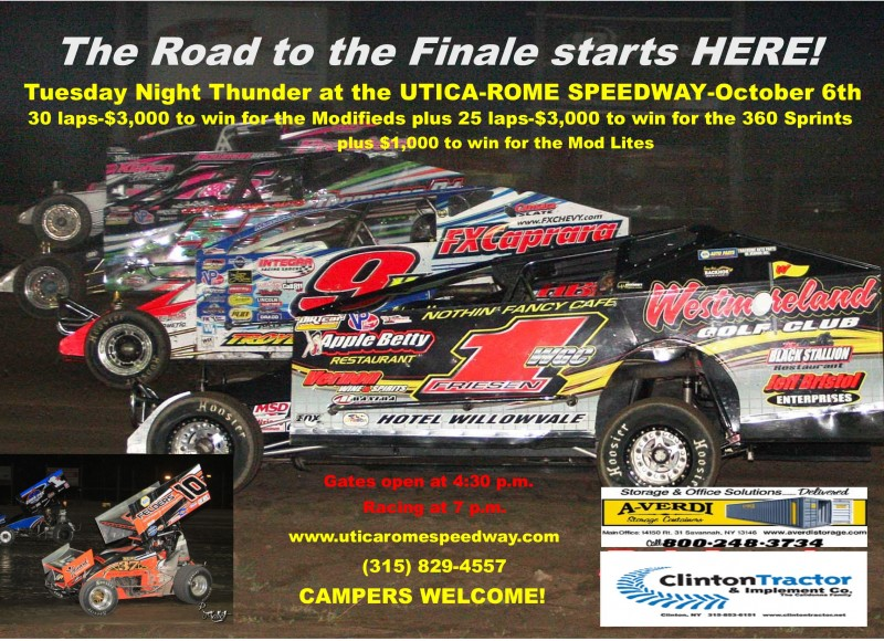 THE ROAD TO THE FINALE STARTS AT THE UTICA-ROME SPEEDWAY